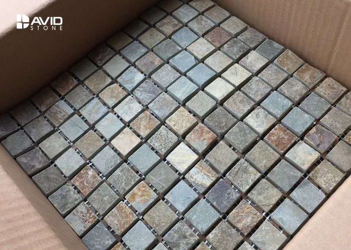 121 Pcs Elegant Slate Mosaic Tile Sheets , Mosaic Bathroom Tiles Assorted Color
